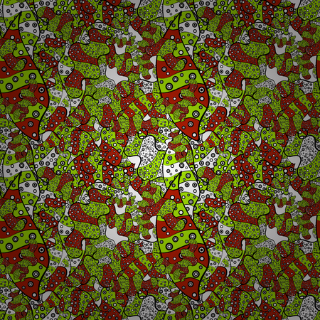 Vector illustration. Watercolor painting. Seamless pattern Gentle, spring on green, black and red colors.