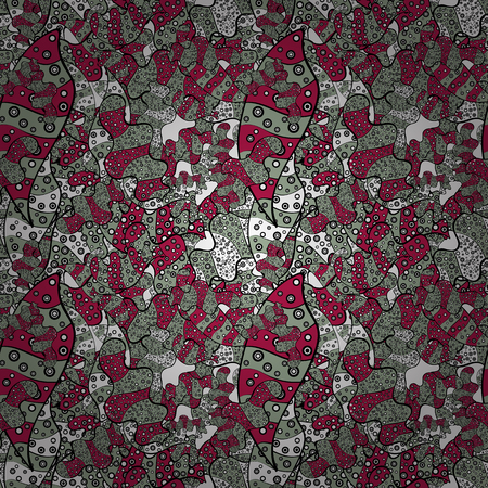 Doodles cute pattern. Nice background. Seamless Beautiful fabric pattern. Black, red and neutral on colors. Vector - stock illustration.