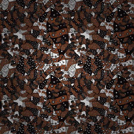 Abstract doodles pattern.  stock   Seamless Cute fabric pattern. Pattern brown, white and black on colors. Vector design. Ilustração