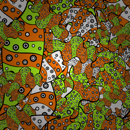 Gentle, doodles on orange, black and green colors. Abstract seamless vector pattern with hand drawn floral elements.
