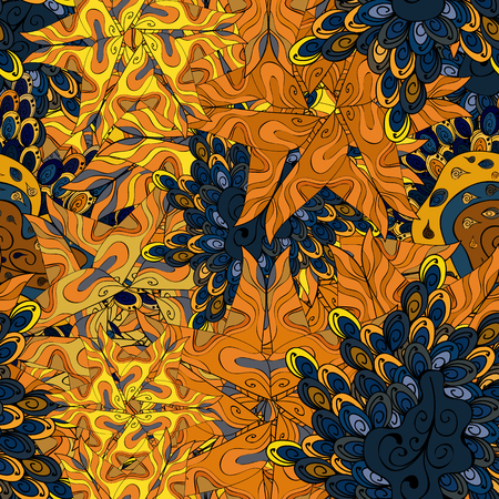 Pattern orange, blue, yellow, brown on colors. Seamless Cute fabric pattern.