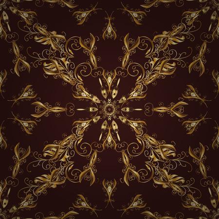 Patrón transparente de vector clásico dorado. Patrón textil de brocado de adorno floral, vidrio, metal con patrón floral en colores marrón, beige y amarillo con elementos dorados.
