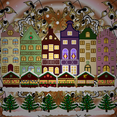 Fir-trees. Winter city with trees, cute houses, sun. Vector illustration. Fabric print. Winter nature landscape.