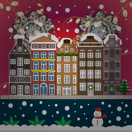 Village winter landscape with snow cove houses and christmas tree with Christmas presents. Ilustrace