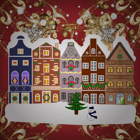 Christmas card Happy Holidays banner. Snowy street. Flat design. Urban winter landscape. Vector illustration.