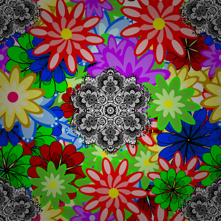 Multi-color green, red, black, blue and gray elegant little flowers and funny bugs on a green, red, black, blue and gray colors, vector texture illustration. Illustration
