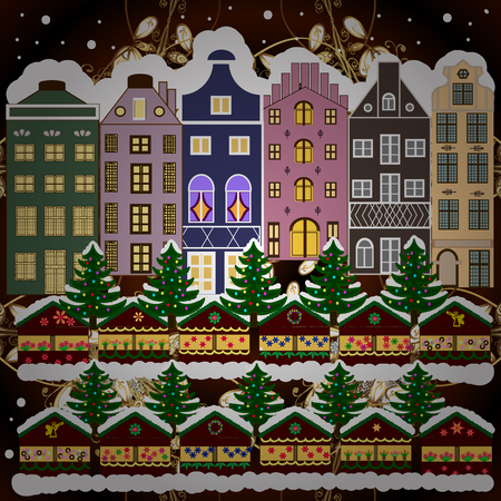 Vector illustration. Holiday background with a christmas tree and houses over a background. 일러스트