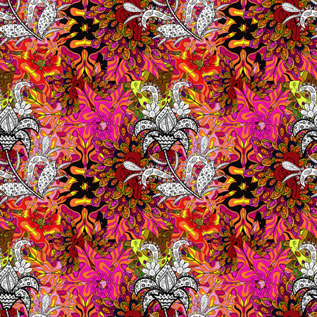 Seamless Print. Cute fabric pattern. Flat doodles. Elements black, orange, magenta, white and yellow on colors. Illustration