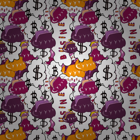 Money icons vector, Money icons image. Money icons illustration. Purses. Flat elements on black, white and purple background.