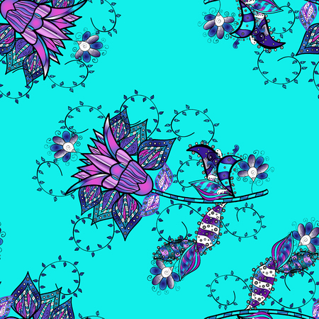 Flowers on blue, black, violet, white and neutral colors. Colour Spring Theme seamless pattern Background. In asian textile style. Vector design. Flat Flower Elements Design. Seamless flowers pattern. Illustration