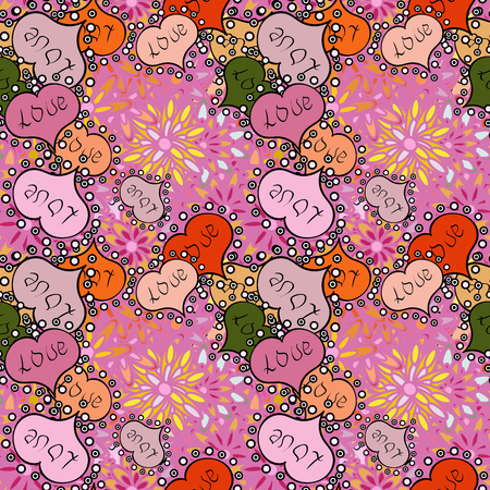 Seamless Hearts pattern. Valentines Day. Vector illustration. Typography lettering poster. Elements on pink, neutral, black, orange and beige colors. Pattern for wrapping, cover.