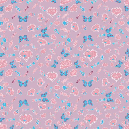 Love design with different elements. Sketch designed loves heart. Cute and nice little hearts in seamless pattern. Vector illustration. To print on tissue paper, to web design.