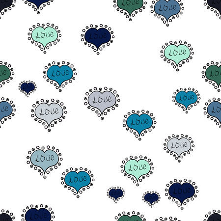 Sketch heart elements on white, blue and black colors. Romantic seamless. Valentine':s day. Vector illustration. Love repeated backdrop for girl, textile, clothes, wrapping paper. Stock Illustratie