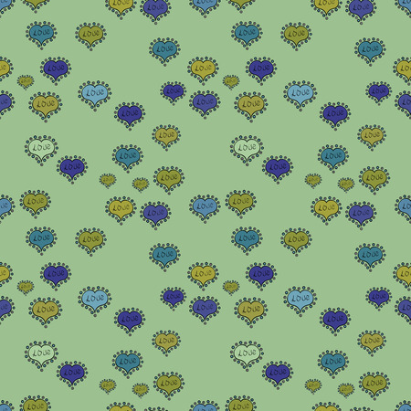 Neutral, blue and black. Vector fancy love shape seamless pattern background. Valentines Day. Çizim