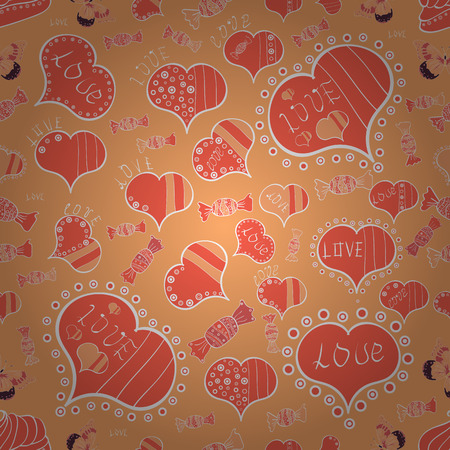 Typography lettering poster. Love design with cute elements. Seamless of yellow, orange and white grunge hearts. Valentine card love hearts. Vector heart. Sketch designed loves heart. Illustration