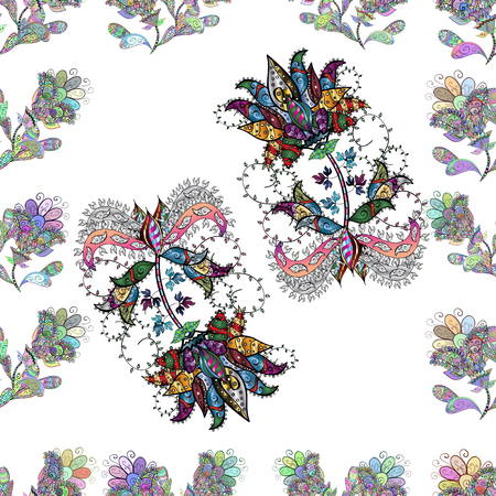 Vector illustration. Cute Floral pattern in the small flower. Flowers on white, neutral, black, blue and green colors.