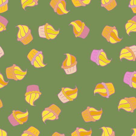 Vector. Seamless cupcake, fairy cake. For food poster design. Cute birthday pattern on green, yellow, pink, beige and neutral. Иллюстрация
