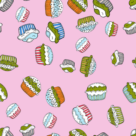 Cupcakes seamless pattern with watercolor on neutral, white, green, black and gray background. Hand drawn doodle illustration with pastry. Vector illustration. Sweets background design.