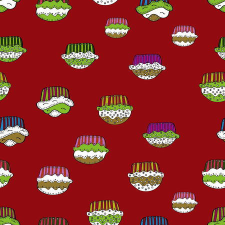 Vector. Wrapping paper. Bright birthday pattern on red, white, green, black and neutral. Watercolor seamless pattern with cupcakes.
