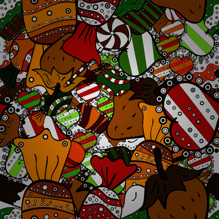 Colorful, retro hand illustrated Halloween treats on a black, white and brown background. Quirky, abstract hand drawn seamless vector candy pattern. 向量圖像