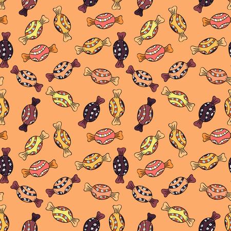 En colores amarillo, negro, naranja, beige y marrón. Doodle de vector de caramelo. Patrón sin fisuras con acuarela dulces caramelos.