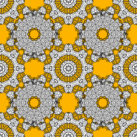 Oriental style arabesques. Vector colorful pattern. White, yellow and black colors with colorfil elements. Vector illustration. Seamless colorful textured curls.