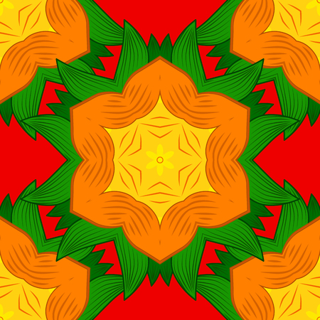 Intricate colored Arabesque with on a orange, green and red colors. Vector abstract stylized colored mandala.