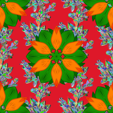 Seamless pattern with vector on a red, green and orange colors. For wrap, wallpapers, backgrounds and scrapbooks. For Merry Christmas, Happy New Year products.