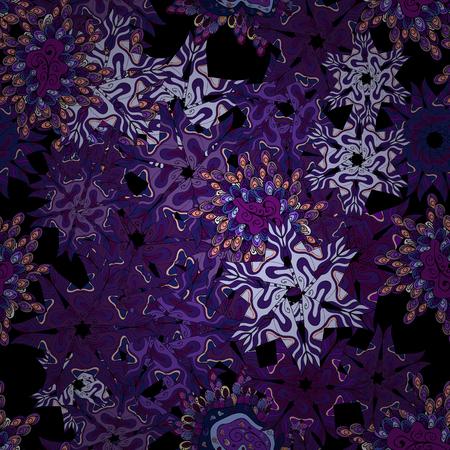 Nice fabric pattern. Vector. Design. Doodles violet, black, purple, neutral and blue on colors. Flat elements. Print.