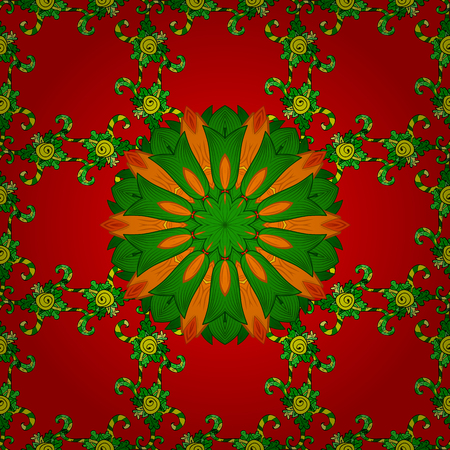 Orient, symmetry lace, fabric, wallpaper. Vintage decorative ornament on red, green and orange colors. Colored mandala pattern, Arabic background. Vector East, Islam, Indian, motif, revival swirling.