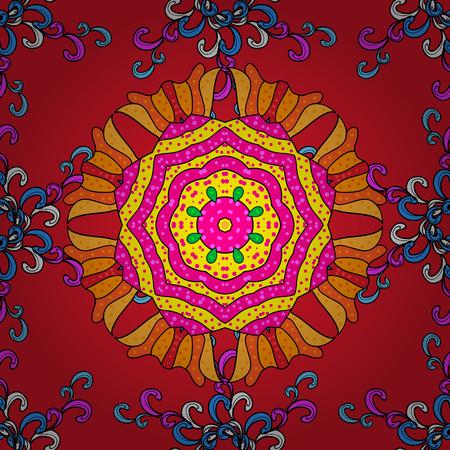 빨강, 마젠타 및 검정 위에 채색됩니다. 이슬람, 아랍어, 인도, 터키, 파키스탄. 빨강, 마젠타 및 검정 색상에 장식 인도 라운드 만다라. 빈티지 패턴. 초대 카드, 스크랩북. 스톡 콘텐츠 - 103197344