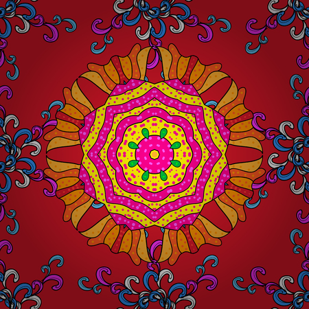 Colored over red, magenta and black. Islam, Arabic, Indian, Turkish, Pakistan. Decorative Indian Round Mandala on red, magenta and black colors. Vintage pattern. Invitation Card, Scrapbooking.