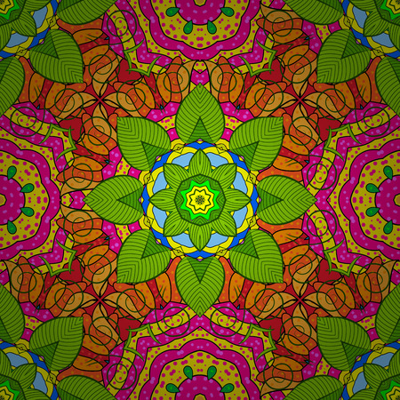 Vector colored Mandala. Ornament invitation card Vintage decorative elements on a green, yellow and magenta colors. Tribal, Boho, Bohemian style, for flash tattoo.