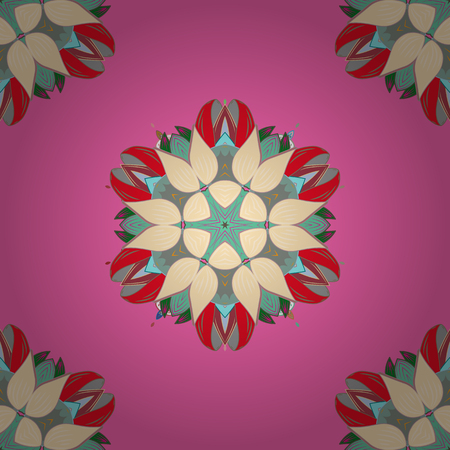 Vector round mandala in childish style. Ornamental doodle pink, beige and red colors. Vector nature seamless pattern with abstract ornament.
