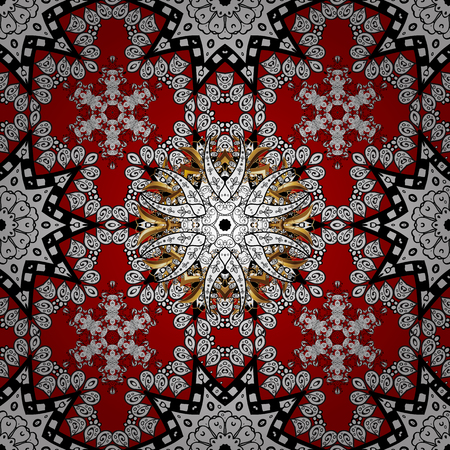 Vintage design element in Eastern style. Ornamental lace tracery. Golden ornate illustration for wallpaper. Vector seamless pattern with floral ornament. Traditional arabic decor on red colors.  イラスト・ベクター素材