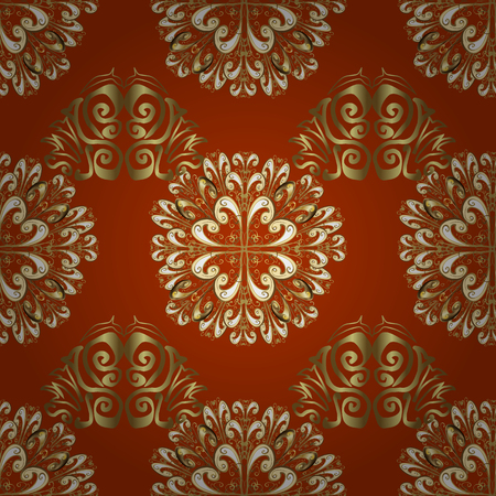 Seamless oriental ornament in the style of baroque. Traditional classic golden vector pattern on orange, beige and brown colors with golden elements. Illustration