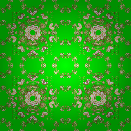 Seamless Gentle, spring on green, white and beige colors. Vector - stock. Modern stylish texture.