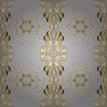 Vector seamless pattern with gold antique floral medieval decorative, leaves and golden pattern ornaments on gray, beige and brown colors. Seamless royal luxury golden baroque damask vintage. Illustration