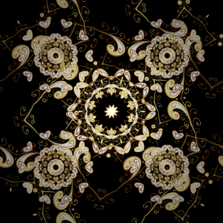 Classic vector golden seamless pattern. Floral ornament brocade textile pattern, glass, metal with floral pattern on black, brown and white colors with golden elements.