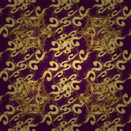 Openwork delicate golden pattern. Vector. Oriental style arabesques. Seamless golden texture curls. Brilliant lace, stylized flowers, paisley. Seamless pattern on purple colors with golden elements.