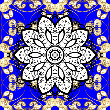 Metal with floral pattern. White, blue and black colors with golden elements. Vector golden floral ornament brocade textile pattern, white doodles. Seamless golden pattern. Illustration