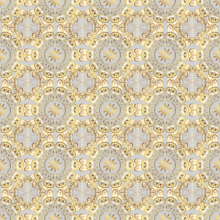 Images on a gray, beige and white colors Vector illustration. Seamless pattern Elegant decorative ornament for fashion print, scrapbook, wrapping paper, wallpaper. Иллюстрация