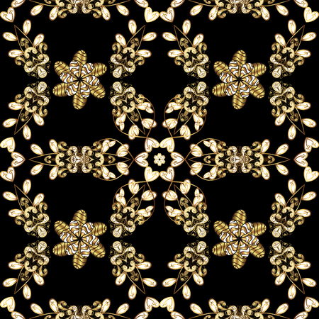 Golden element on black colors. Antique golden repeatable wallpaper. Damask seamless pattern repeating background. Golden floral ornament in baroque style. Иллюстрация