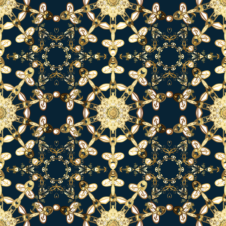Seamless abstract background with repeating elements. Blue, brown and beige and golden pattern. Elegant vector classic pattern.