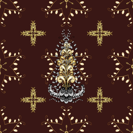 Vector traditional classic golden pattern with white doodles on brown, white and yellow colors. Seamless oriental ornament in the style of baroque.
