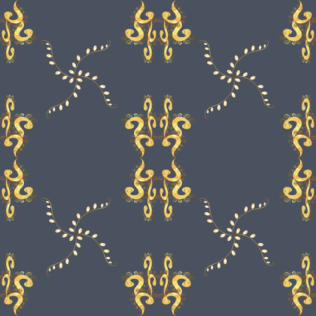 Golden pattern on a blue, yellow and brown colors with golden elements. Luxury, royal and Victorian concept. Vector vintage baroque floral seamless pattern in gold. Ornate decoration.