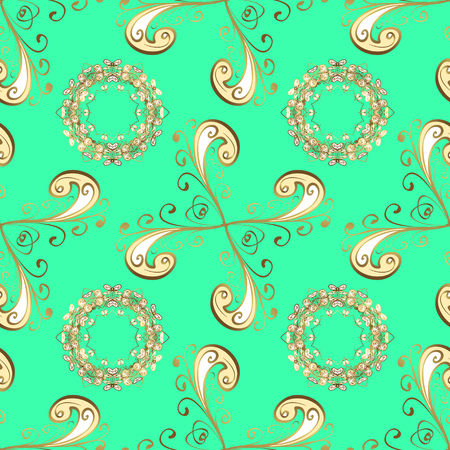 Good for greeting card for birthday, invitation or banner. Decorative symmetry arabesque. Vector illustration. Seamless medieval floral royal pattern. Gold on green, beige and yellow colors.