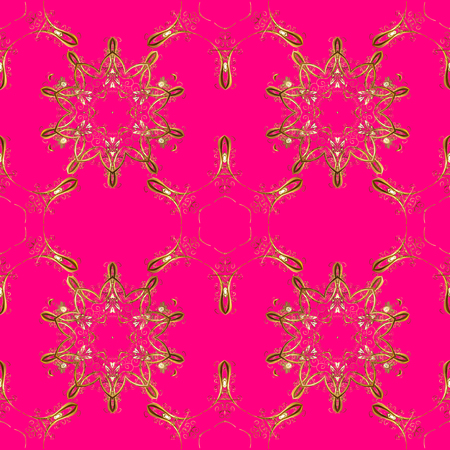 Vector. Seamless Beautiful fabric pattern. Doodles magenta, brown and beige on colors.