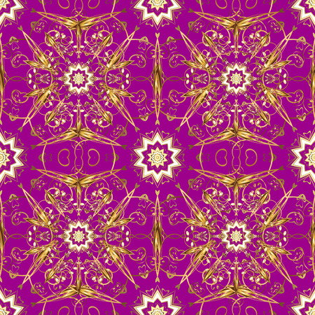 Gold metal with floral pattern. Vector golden floral ornament brocade textile and glass pattern. Purple, beige and brown colors with golden elements. Seamless golden pattern.