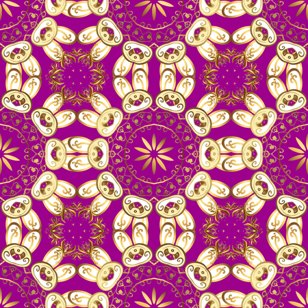Doodles purple, yellow and white on colors. Nice pattern for wrapping paper vector. Seamless pattern Sketch cute background.